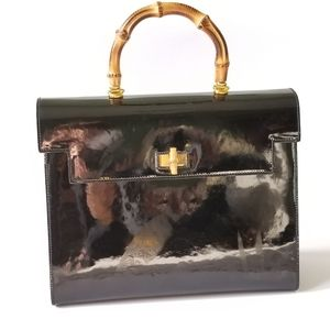 Vintage Furla Patent leather Bamboo handle